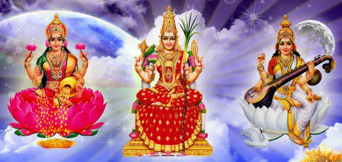 Adi Parashakti Forms - Parvati Saraswati Lakshmi