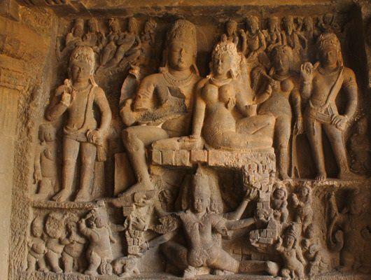 Ravananugraha - Lord Shiva and Ravana - Ravananugraha Murti at Ellora