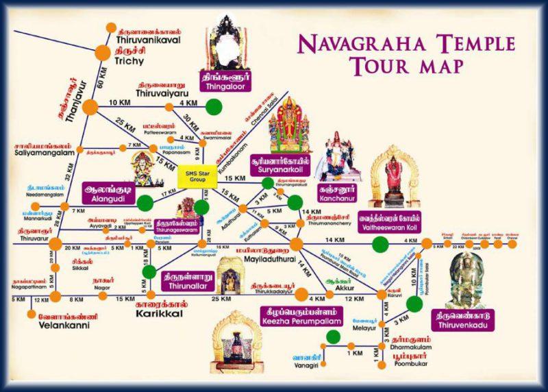 Navagragha Tour Map - Kumbakonam Navagraha Temples